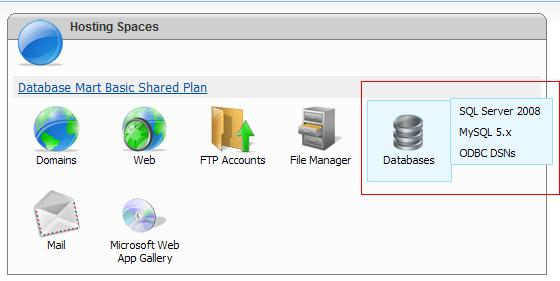 Click Database icon and select MS SQL 2008