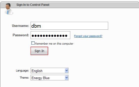 Login to WebsitePanel